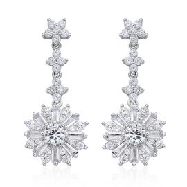 ELANZA AAA Simulated White Diamond (Rnd) Dangle Earrings (with Push Back) in Rhodium Plated Sterling Silver, Silver wt 5.44 Gms.