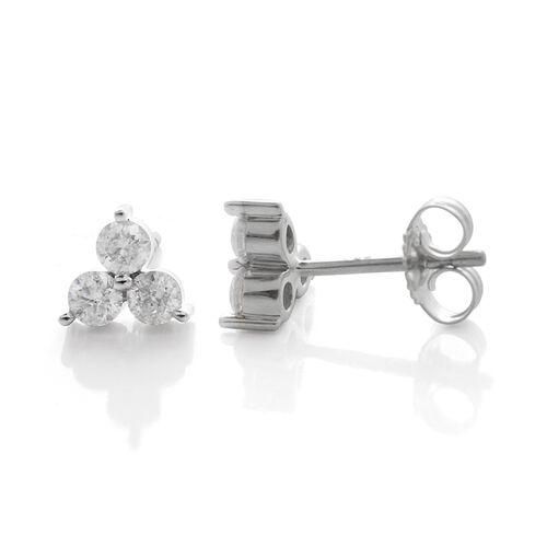 9K White Gold 0.50 Carat SGL Certified Diamond Stud Earrings I3 G-H (with Push Back)
