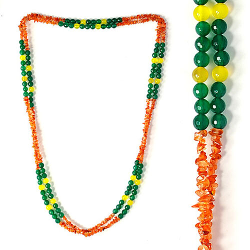 Jewels of India Carnelian, Green and Yellow Agate Necklace (Size 72) 604.100 Ct.
