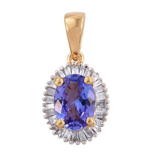 AA Tanzanite (Ovl 1.00 Ct), Diamond Pendant in 14K Gold Overlay Sterling Silver 1.250 Ct.