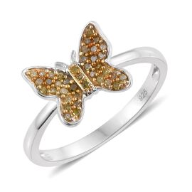 0.20 Carat Yellow Diamond Butterfly Ring in Platinum Overlay Sterling Silver