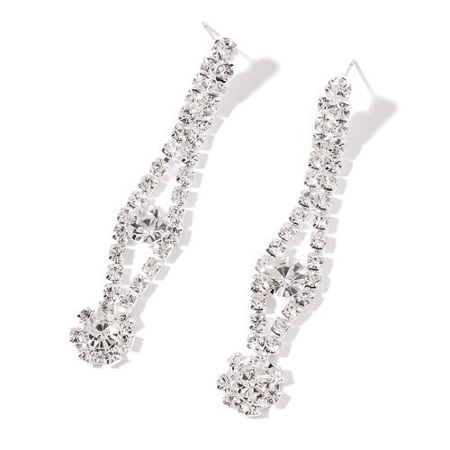 (Option 2) AAA White Austrian Crystal V -Shaped Necklace (Size 22) and Earrings (with Push Back) in Silver Tone