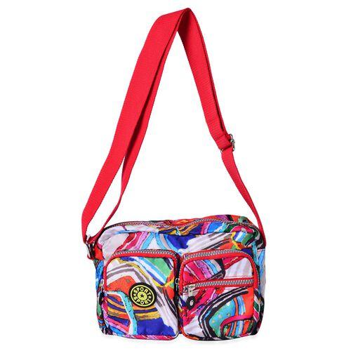 Designer Inspired Multi Colour Printed Red Colour Handbag with External Zipper Pocket and Adjustable Shoulder Strap (Size 25x18 Cm)