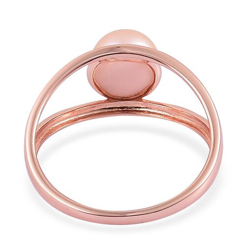Fresh Water Peach Pearl Solitaire Ring in Rose Gold Overlay Sterling Silver