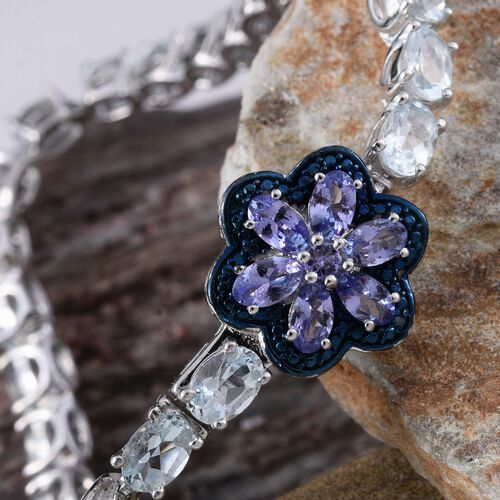 Espirito Santo Aquamarine (Ovl), Tanzanite and Blue Diamond Bracelet (Size 7.5) in Platinum Overlay Sterling Silver 11.010 Ct.