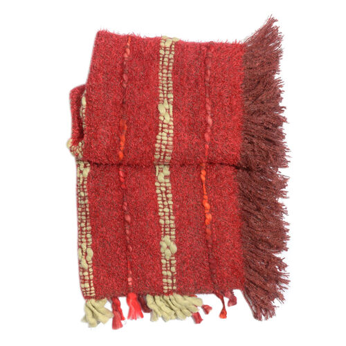 Red Colour Shawl with Fringes at the Bottom (Free Size)