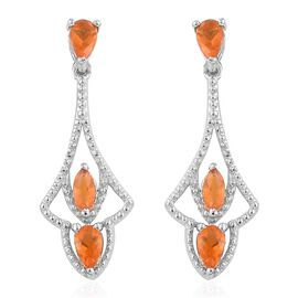 Jalisco Fire Opal (Pear) Earrings (with Push Back) in Platinum Overlay Sterling Silver 0.700 Ct.