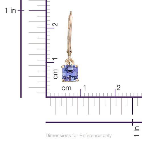 9K Y Gold Tanzanite (Asscher Cut) Lever Back Earrings 1.350 Ct.