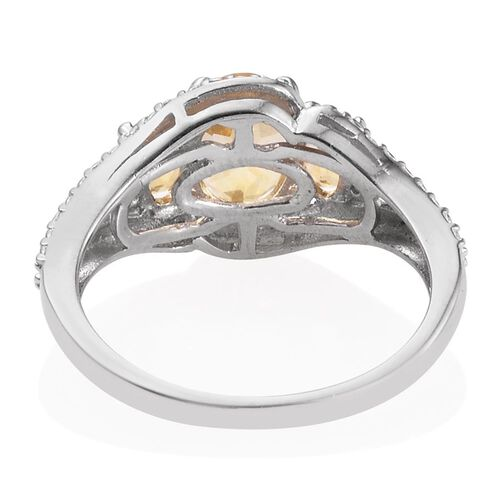 Citrine (Ovl 1.00 Ct) 3 Stone Ring in Platinum Overlay Sterling Silver 1.500 Ct.