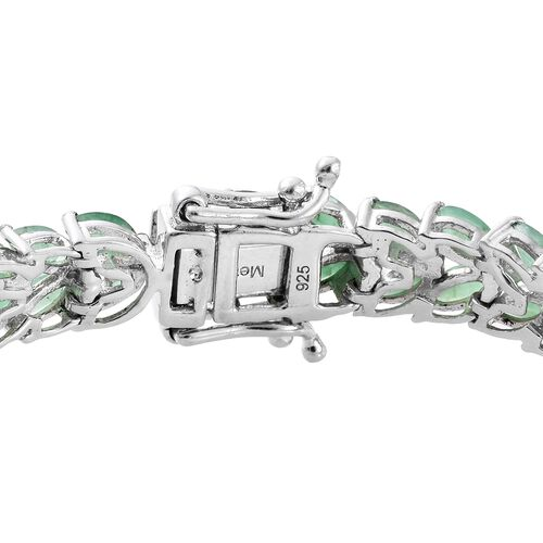 Limited Edition- AAA Kagem Zambian Emerald (Mrq) Bracelet (Size 7.5) in Platinum Overlay Sterling Silver 13.000 Ct. Silver wt 15.81 Gms.