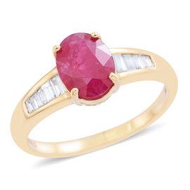 ILIANA 18K Y Gold AAA Burmese Ruby (Ovl 2.00 Ct), Diamond Ring 2.250 Ct.