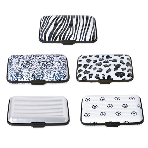 Set of 5 - RFID Blocker Black, White and Multi Colour Leopard, Zebra, Football and Floral Pattern Card Holder (Size 11X7X2 Cm)