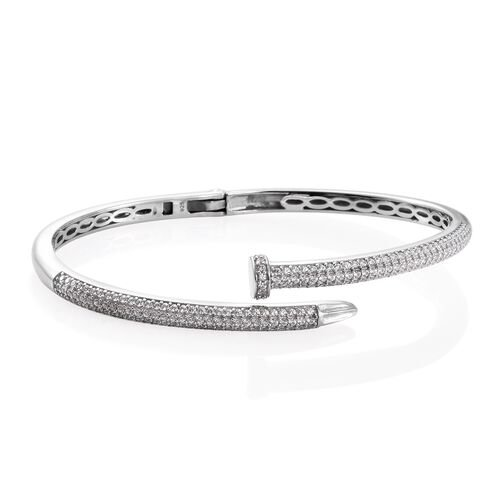 J Francis - Signature Collection Platinum Overlay Sterling Silver (Rnd) Nail Bangle (Size 7.5) Made with SWAROVSKI ZIRCONIA. 200 pcs of Swarvoski Zirconia Studded