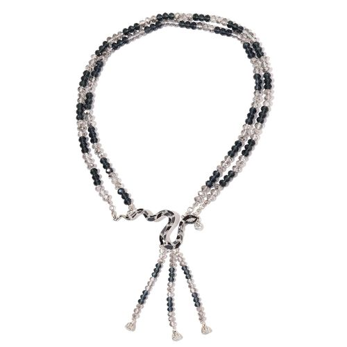 Simulated Grey Moonstone, Simulated Black Spinel, White and Green Austrian Crystal Enameled Snake Necklace (Size 22) in Silver Tone