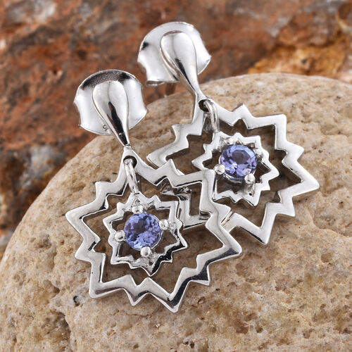 Tanzanite 0.25 Ct Snowflake Earrings (with Push Back) in Platinum Overlay Sterling Silver