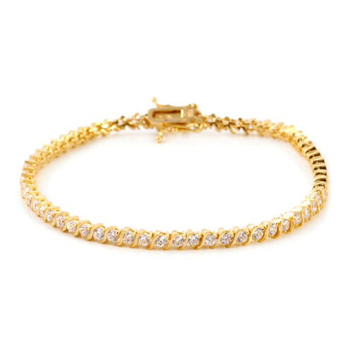 ELANZA AAA Simulated Diamond (Rnd) Bracelet in 14K Gold Overlay Sterling Silver (Size 7.5) (Sterling Silver Wt 7.5  grams )