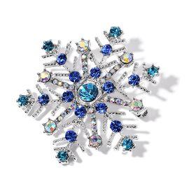 AAA Multi Colour Austrian Crystal Snowflake Brooch in Silver Tone
