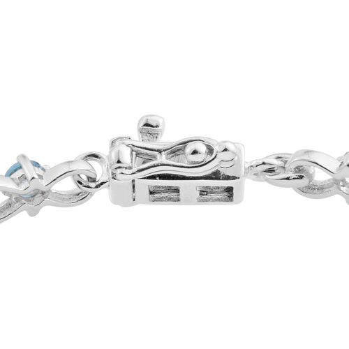 London Blue Topaz (Ovl), Swiss Blue Topaz and Diamond Bracelet (Size 7.5) in Rhodium Plated Sterling Silver 13.885 Ct. Silver wt 9.50 Gms.