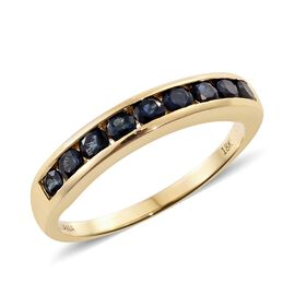ILIANA 18K Yellow Gold AAAA Monte Belo Indicolite (Rnd) Half Eternity Band Ring 1.000 Ct.