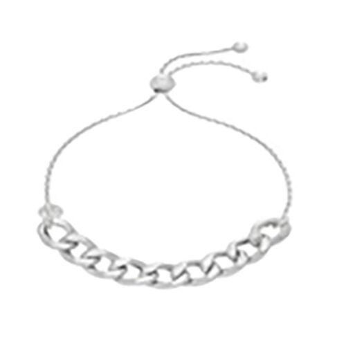 JCK Vegas Collection Sterling Silver Adjustable Curb Bracelet (Size 6to7), Silver wt 6.10 Gms.