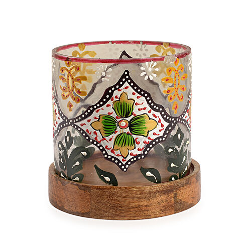 Yellow, Green and Multi Colour Floral and Leaves Hand Painted Candle Stand with Wooden Base (Size 12.5x11.5 Cm)