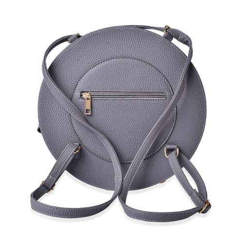 Grey Colour Crossbody Bag with Adjustable Shoulder Strap for use as backpack (Size 27.5x17x7 Cm)