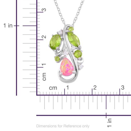 Enhanced Simulated Pink Opal, Simulated Peridot and Simulated White Diamond Pendant With Chain in Sterling Silver