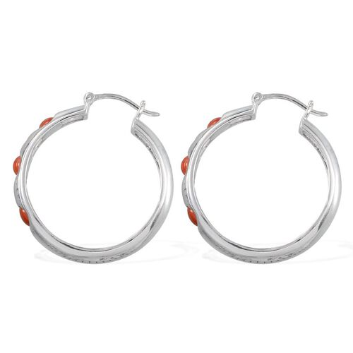 Natural Mediterranean Coral (Rnd) Hoop Earrings (With Clasp) in Platinum Overlay Sterling Silver 2.000 Ct.