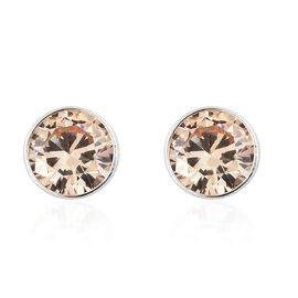 Super Auction - ELANZA AAA Simulated Champagne Diamond (Rnd 5mm) Stud Earrings (with Push Back) in Sterling Silver