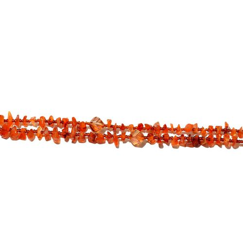 Jewels of India Carnelian, Glass Necklace (Size 36) 121.05 Ct.