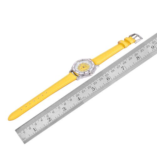 STRADA Japanese Movement Yellow and White Dial Water Resistant Watch in Silver Tone with Stainless Steel Back and Yellow Strap