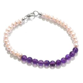 Amethyst and Fresh Water Pearl Bracelet (Size 7.5) in Platinum Overlay Sterling Silver 34.400 Ct.