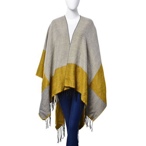 Reversible Mustard and Grey Colour Poncho (Size 130x75 Cm)