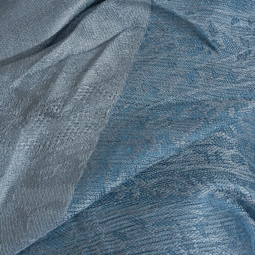 Grey and Blue Colour Paisley Pattern Reversible Scarf with Tassels (Size 200x70 Cm)