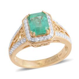 Signature Collection- ILIANA 18K Yellow Gold AAA Boyaca Colombian Emerald and Diamond (SI/G-H) Ring 1.960 Ct.