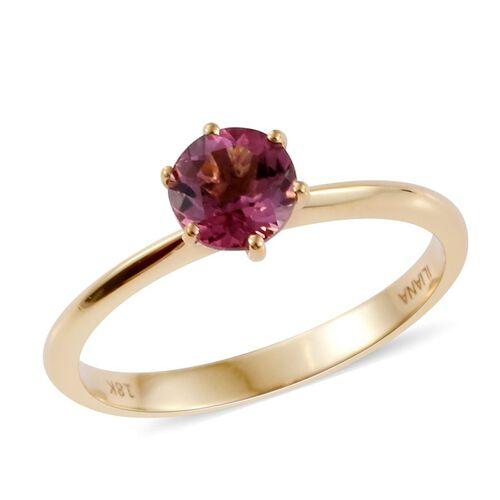 ILIANA 18K Yellow Gold Pink Tourmaline (Rnd) Solitaire Ring 0.750 Ct.