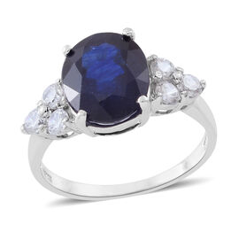 Masoala Sapphire (Ovl 6.75 Ct), Natural White Cambodian Zircon Ring in Rhodium Plated Sterling Silver 8.000 Ct.
