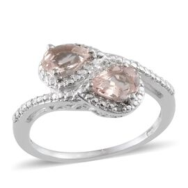 Marropino Morganite (Pear), Diamond Ring in Platinum Overlay Sterling Silver 1.160 Ct.