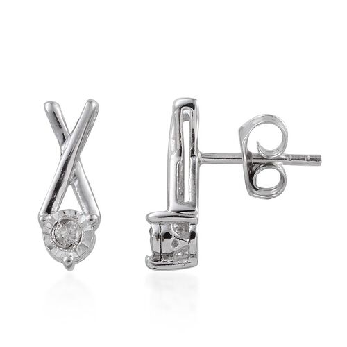 Diamond (Rnd) XO Earrings (With Push Back) in Platinum Overlay Sterling Silver 0.100 Ct.