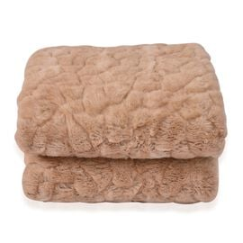 Luxury Edition - Dual Layer Reversible Light Brown Colour Long Pile Faux Fur Blanket with Matching Sherpa Backing Beige (Size 200X150 Cm)