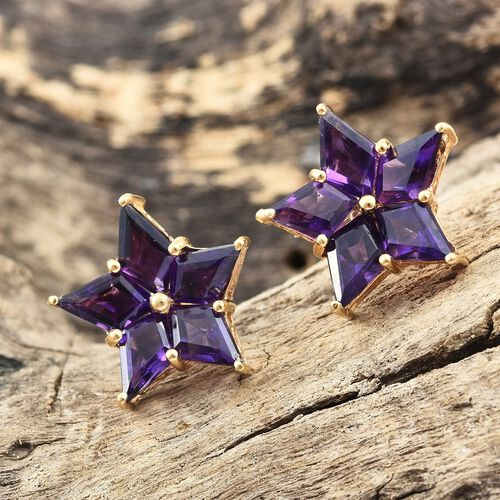 GP Amethyst (Kite), Kanchanaburi Blue Sapphire Star Stud Earrings (with Push Back) in 14K Gold Overlay Sterling Silver 9.250 Ct.
