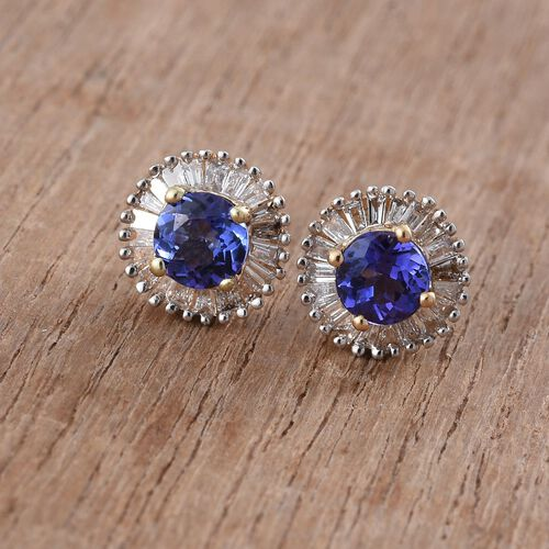 ILIANA 18K Yellow Gold 0.99 Ct AAA Tanzanite Halo Stud Earrings with Diamond