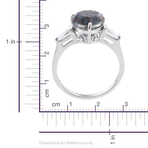 Indicolite Quartz (Hrt 4.00 Ct), White Topaz Heart Ring in Platinum Overlay Sterling Silver 4.500 Ct.