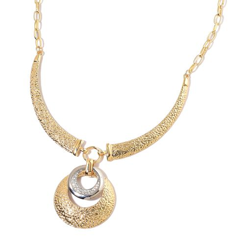 AAA White Austrian Crystal Concentric Circle Necklace (Size 22) in Silver and Yellow Gold Tone