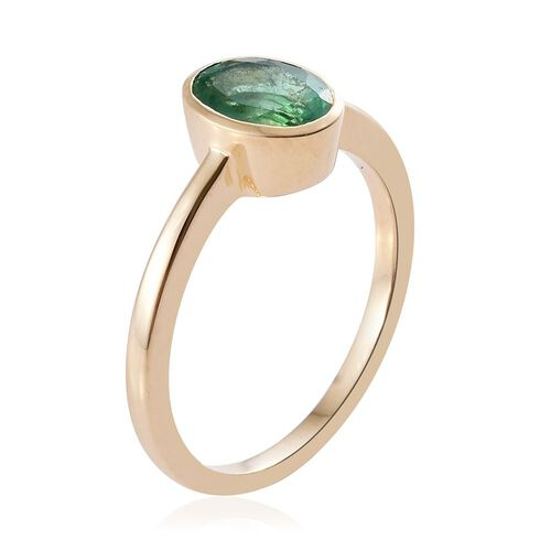 One Time Deal - 9K Y Gold AAA Boyaca Colombian Emerald (Ovl) Solitaire Ring 1.000 Ct.