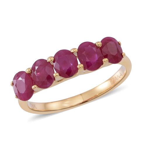 ILIANA 18K Y Gold AAAA  Burmese Ruby (Ovl) 5 Stone Ring 2.250 Ct.
