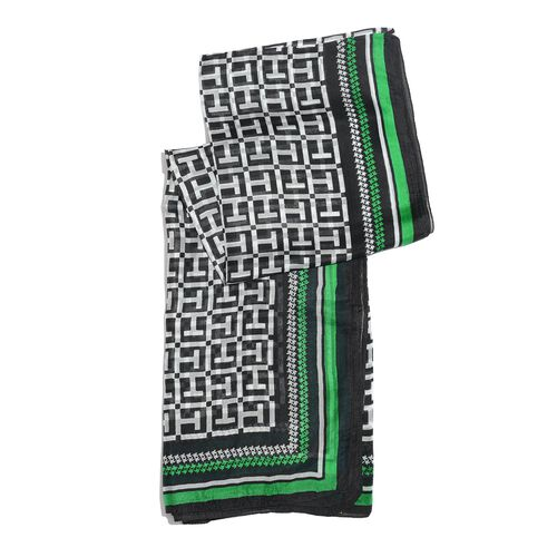 100% Mulberry Silk Black, White and Green Colour Printed Scarf (Size 180x100 Cm)