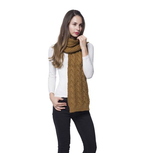 Chocolate Colour Jumbo Cable Knitted Scarf (Size 170x25 Cm)