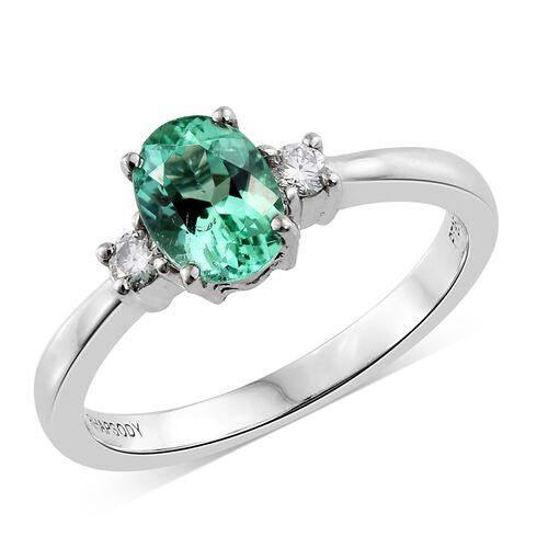 RHAPSODY 950 Platinum 1.10 Ct AAAA Boyaca Colombian Emerald, Diamond (VS/E-F) Ring