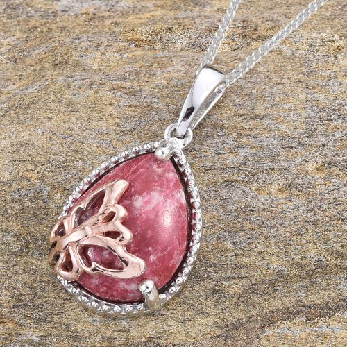 Norwegian Thulite (Pear) Pendant With Chain in 14K Gold, Rose Gold and Platinum Overlay Sterling Silver 10.000 Ct.